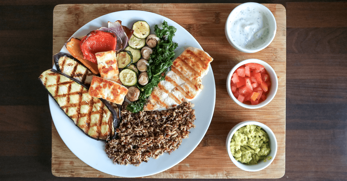 Grilled Chicken & Eggplant with Halloumi & Vegetables