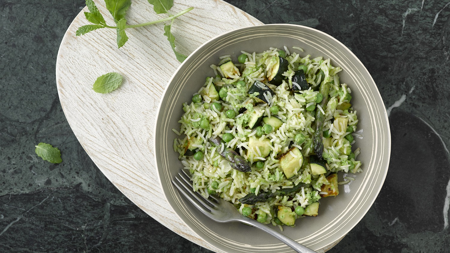 Zucchini & Asparagus Risotto with Minted Pea Puree
