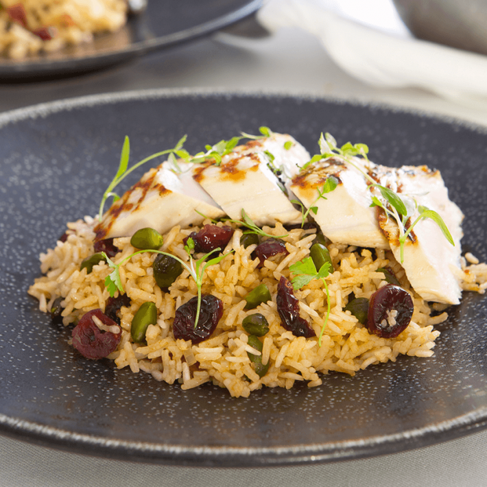 Basmati Pilaf with Turkey, Pistachio, Cranberries, Parsley, and Thyme