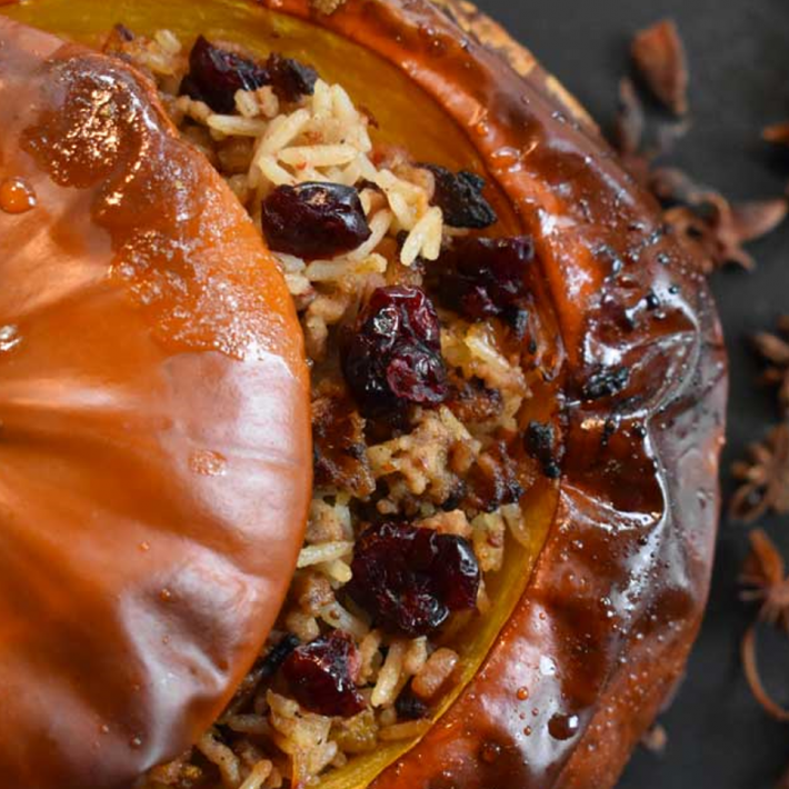 Honey-Glazed Pumpkins stuffed with Cranberry-Chili Lamb Rice