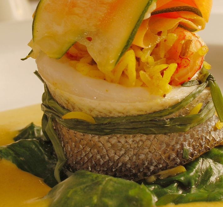 Paupiette of Sea Bass with a Korma-flavored Basmati & Crayfish Stuffing